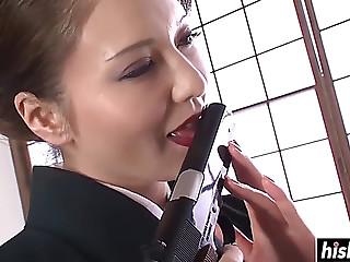 Oriental gal pleases her..