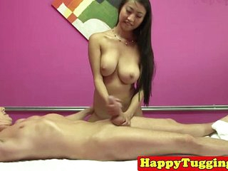 Real asian masseuse toying..