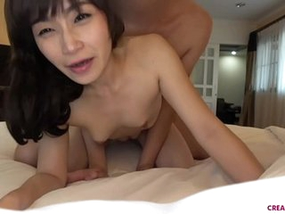Bareback creampie with Asian..