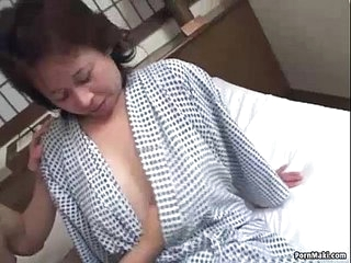 Asian granny enjoys..