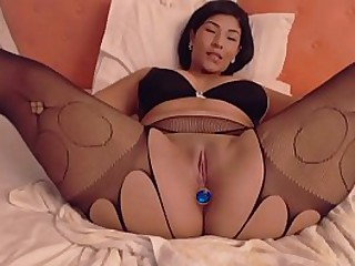 thick asian masturbating on..
