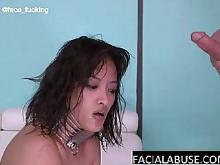 Asian whore gets a Facefuck..