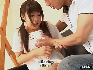Asian adorable teen getting..