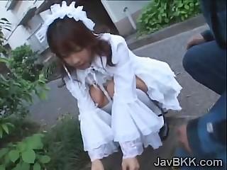 Innocent Japanese teen maid..