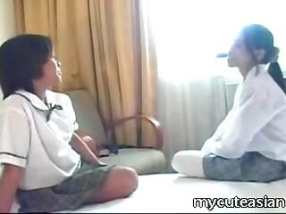 Two teen lesbian Asian girls..