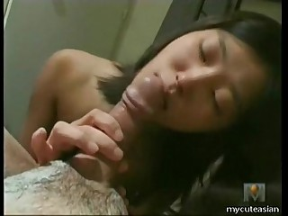Hot Asian big cock blowjob..