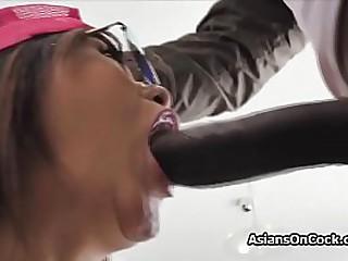 Teen Asian cutie seduces big..