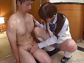 Rei aimi gives a chap an oil..